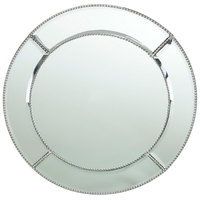 The Jay Companies 13 inch Round Beaded Glass Mirror Charger Plate