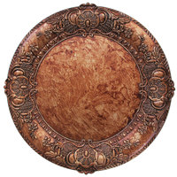 The Jay Companies 1320428 14 inch Round Copper Embossed Plastic Charger Plate