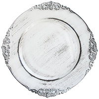 The Jay Companies 13 inch Round White Royal Antiqued Embossed Polypropylene Charger Plate