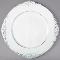 The Jay Companies 1180257-WH 13 inch Round White Royal Antiqued Embossed Polypropylene Charger Plate