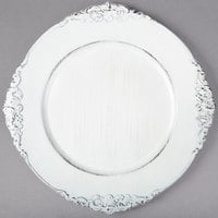 The Jay Companies 1180257-WH 13 inch Round White Royal Antiqued Embossed Plastic Charger Plate