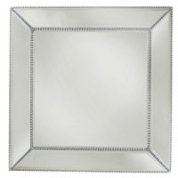 The Jay Companies 1331678 13 inch Square Beaded Glass Mirror Charger Plate