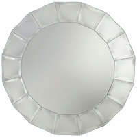 The Jay Companies 13 inch Round Beveled Block Beaded Glass Mirror Charger Plate