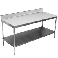 Advance Tabco SPS-305 Poly Top Work Table 30 inch x 60 inch with Undershelf and 6 inch Backsplash