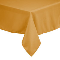 Intedge 54 inch x 81 inch Rectangular Gold 100% Polyester Hemmed Cloth Table Cover
