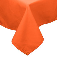 54 inch x 81 inch Orange 100% Polyester Hemmed Cloth Table Cover