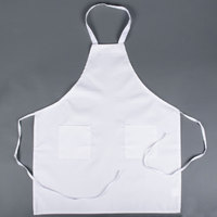 Choice White Full Length Bib Apron with Pockets - 30 inchL x 34 inchW