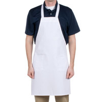 Choice White Full Length Bib Apron with Pockets - 34 inchL x 32 inchW