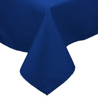 54 inch x 81 inch Royal Blue 100% Polyester Hemmed Cloth Table Cover