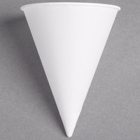 Bare by Solo 8RB-2050 Eco-Forward 8 oz. White Rolled Rim Paper Cone Cup with Poly Bag Packaging - 250/Pack
