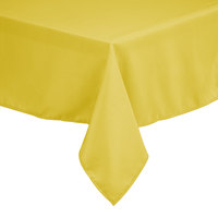 Intedge 64 inch x 120 inch Rectangular Yellow 100% Polyester Hemmed Cloth Table Cover