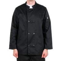 Chef Revival J061BK-L Size 46 (L) Black Customizable Double Breasted Chef Coat - Poly-Cotton
