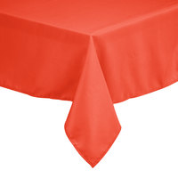 Intedge 72 inch x 120 inch Rectangular Orange 100% Polyester Hemmed Cloth Table Cover