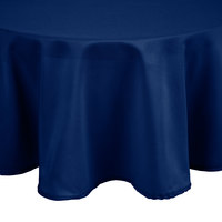 Intedge 83 inch Round Royal Blue 100% Polyester Hemmed Cloth Table Cover