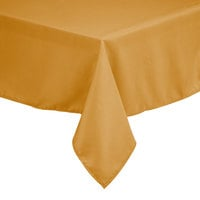 Intedge 90 inch x 90 inch Square Gold 100% Polyester Hemmed Cloth Table Cover