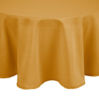 Intedge 120 inch Round Gold 100% Polyester Hemmed Cloth Table Cover