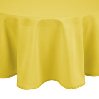 Intedge 83 inch Round Yellow 100% Polyester Hemmed Cloth Table Cover