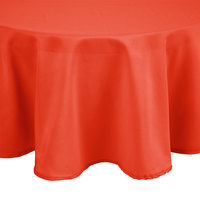 Intedge 132 inch Round Orange 100% Polyester Hemmed Cloth Table Cover