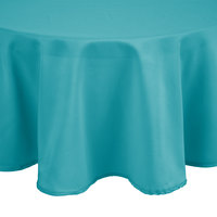 Intedge 90 inch Round Teal 100% Polyester Hemmed Cloth Table Cover