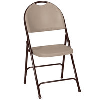 Correll RC350 24 Tan with Brown Frame Plastic Molded Folding Chair