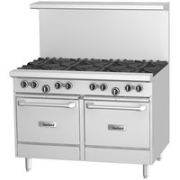 Garland G48-6G12LL Liquid Propane 6 Burner 48 inch Range with 12 inch Griddle and 2 Space Saver Ovens - 280,000 BTU