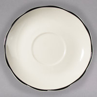 CAC SC-36B Seville 4 1/2 inch Ivory Scalloped Edge China Saucer with Black Band - 36/Case