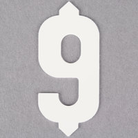 1 inch White Molded Plastic Number 9 Deli Tag Insert - 50 / Set