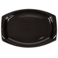 Genpak BLK11 Silhouette 7 inch x 10 1/2 inch Black Premium Plastic Platter   - 125/Pack