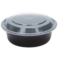 32 oz. Black 7 inch Round Microwavable Container with Lid - 25/Pack