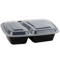Black 30 oz. 8 1/2 inch x 6 inch x 1 7/8 inch Two Compartment Rectangular Microwavable Container with Lid - 10/Pack