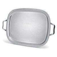 Vollrath 82123 Elegant Reflections Stainless Steel Oblong Serving Tray with Handles - 24 inch x 19 inch
