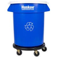 Continental Huskee 20 Gallon Blue Recycling Trash, White Lid, and Trash Can Dolly Kit