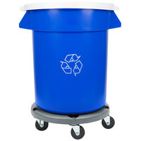 Continental 20 Gallon Blue Recycling Trash Can, Lid, and Dolly Kit