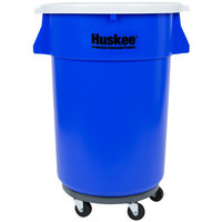 Continental 44 Gallon Blue Trash Can, Lid, and Dolly Kit