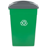 Continental 23 Gallon Green Wall Hugger / Slim Recycling Trash Can and Lid Set