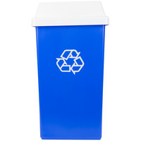Continental Swingline 25 Gallon Blue Square Recycling Trash Can and White Tip Top Lid Set