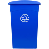 Continental 23 Gallon Blue Wall Hugger Recycling Trash Can and Lid with Slot Set