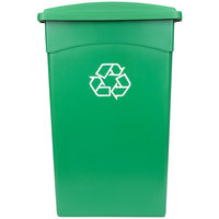 Continental 23 Gallon Green Wall Hugger / Slim Recycling Trash Can and Lid with Holes Set