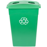 Continental 23 Gallon Green Wall Hugger / Slim Recycling Bin and Lid with Holes Set