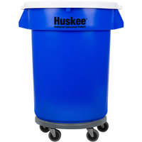 Continental 32 Gallon Blue Trash Can, Lid, and Dolly Kit