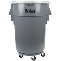 Continental 44 Gallon Gray Ribbed Vented Trash Can, Lid, and Dolly Kit