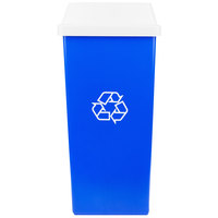 Continental Swingline 32 Gallon Blue Square Recycling Trash Can and White Tip Top Lid Set