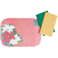 Hoffmaster 856768 10 inch x 14 inch Poinsettia Splendor Christmas Placemat Combo Pack - 250/Case