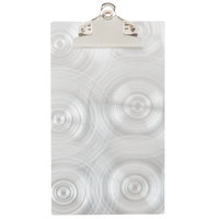Menu Solutions ALSIN59-CLIP Alumitique Single Panel Aluminum Clipboard Check Presenter with Swirl Finish - 4 3/4 inch x 8 3/4 inch