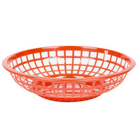 Red 8 inch Round Plastic Fast Food Basket - 12 / Case