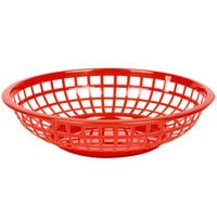 Red 8 inch Round Plastic Fast Food Basket - 12/Case