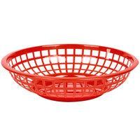 Red 8 inch Round Plastic Fast Food Basket - 12/Case
