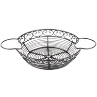 Tablecraft BK271182 Mediterranean Round Black Metal Basket with Ramekin Holders - 11 inch x 8 inch x 2 inch