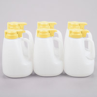 Tablecraft MW64Y 64 oz. Option Dispenser with Yellow Top - 6/Pack