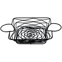 Tablecraft BK171172 Artisan Square Black Metal Basket with Ramekin Holders - 11 inch x 7 inch x 2 inch